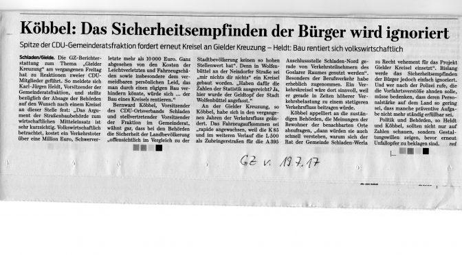 Gielder Kreisel: GZ berichtet über Stellungnahmen der CDU