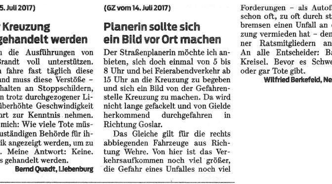 Gielder Kreuzung: CDU-Antrag erhält viel Zuspruch aus der Bevölkerung; Handeln ist jetzt gefragt!